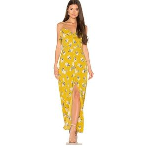 J.O.A. Yellow Floral Ruffled Button Front sundress